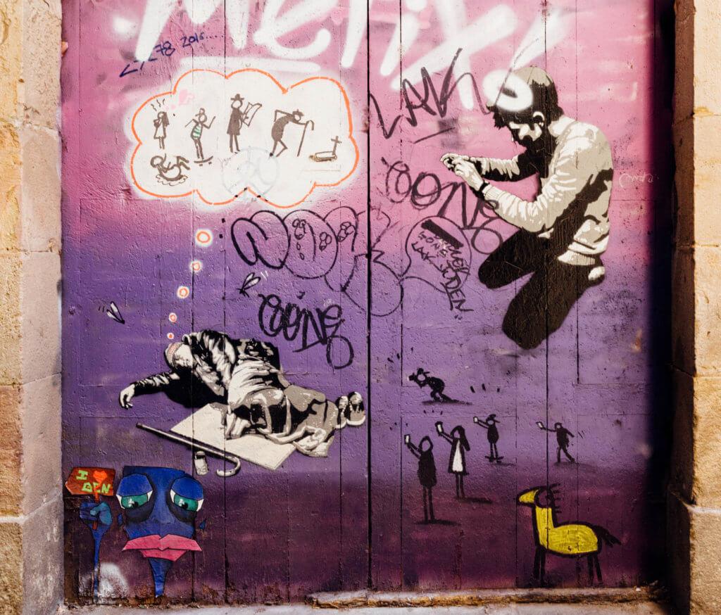 スペインバルセロナのストレートアート