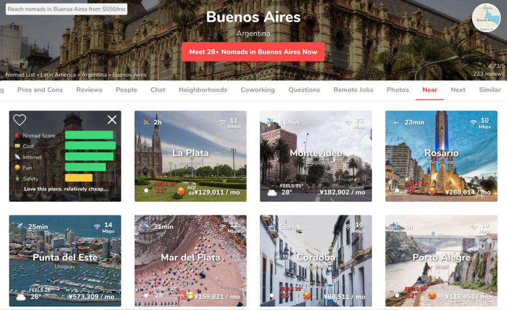 アルゼンチン国内の近隣都市